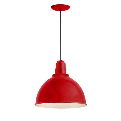 Deep Reflector Red One-Light 16-Inch Outdoor Pendant