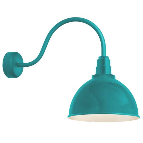 Deep Reflector Tahitian Teal One-Light 16-Inch Outdoor Wall Sconce with 23-Inch Arm