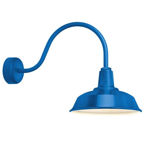Heavy Duty Blue One-Light 14-Inch Outdoor Wall Sconce with 23-Inch Arm