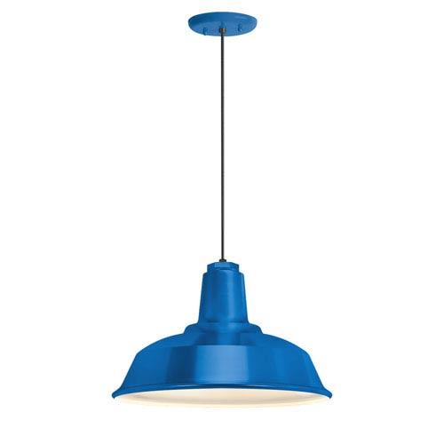 Heavy Duty Blue One-Light 14-Inch Outdoor Pendant