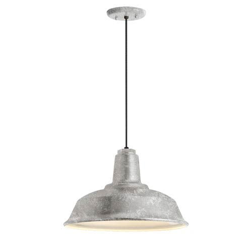 Troy RLM Lighting Heavy Duty Galvanized One-Light 14-Inch Outdoor Pendant