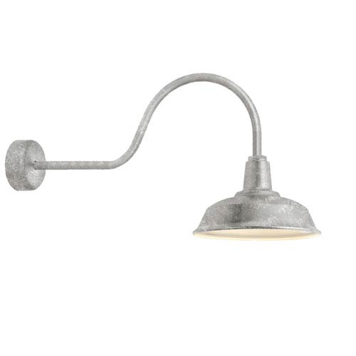 Troy RLM Lighting Heavy Duty Galvanized One-Light 14-Inch Outdoor Wall Sconce with 30-Inch Arm