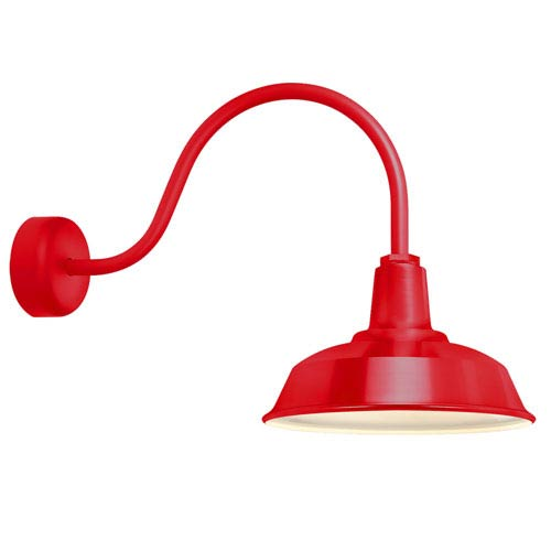 Heavy Duty Red One-Light 14-Inch Outdoor Wall Sconce with 23-Inch Arm