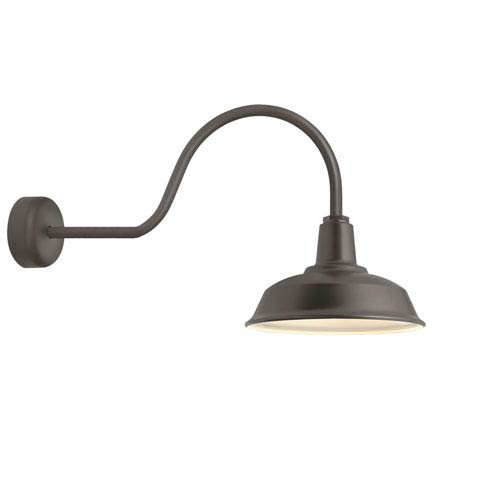 Troy RLM Lighting Heavy Duty Textured Bronze One-Light 14-Inch Outdoor Wall Sconce with 30-Inch Arm