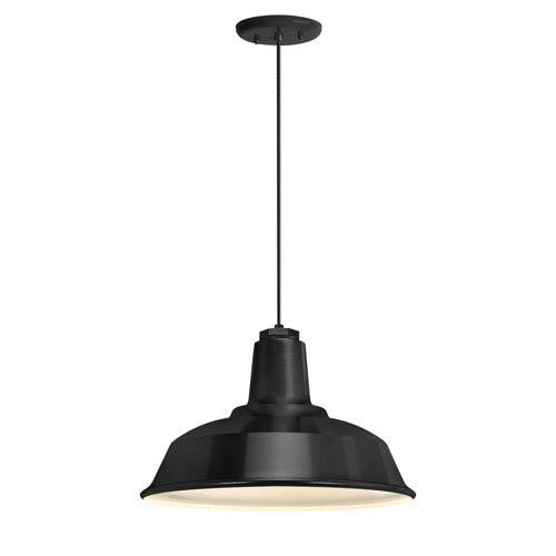 Heavy Duty Black One-Light 16-Inch Outdoor Pendant