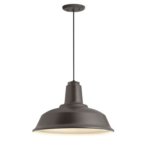 Heavy Duty Textured Bronze One-Light 16-Inch Outdoor Pendant