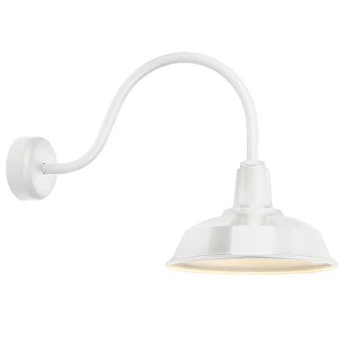 Heavy Duty Gloss White One-Light 16-Inch Outdoor Wall Sconce with 23-Inch Arm