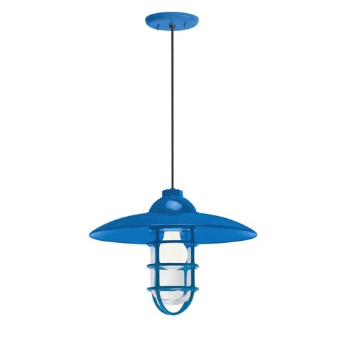 Troy RLM Lighting Retro Industrial Blue One-Light Outdoor Dome Pendant