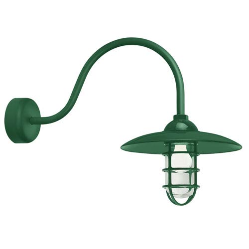 Troy RLM Lighting Retro Industrial Hunter Green One-Light Outdoor Dome Wall Sconce with 23-Inch Arm