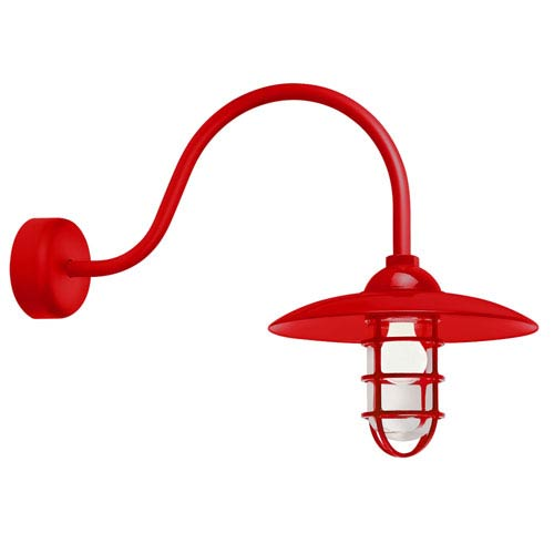 Retro Industrial Red One-Light Outdoor Dome Wall Sconce with 23-Inch Arm