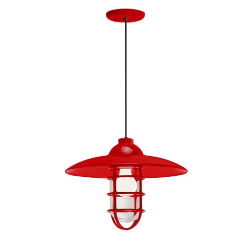 Retro Industrial Red One-Light Outdoor Dome Pendant