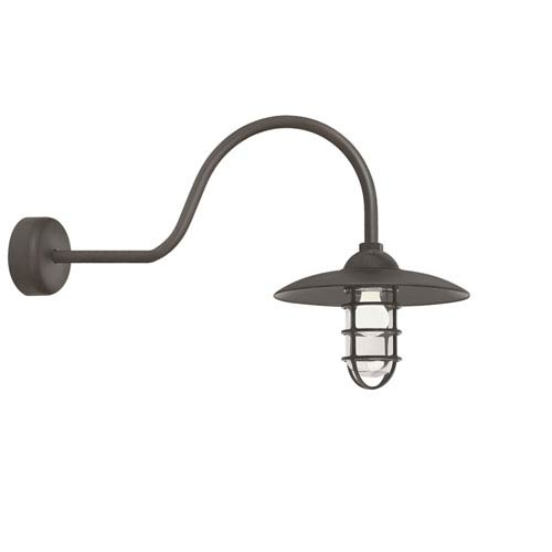 Retro Industrial Textured Bronze One-Light Outdoor Dome Wall Sconce with 30-Inch Arm