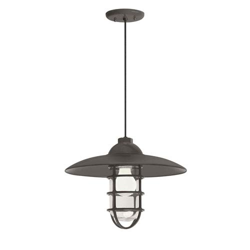 Retro Industrial Textured Bronze One-Light Outdoor Dome Pendant