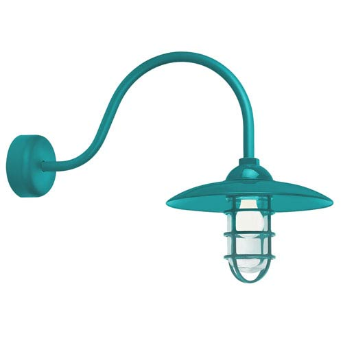 Retro Industrial Tahitian Teal One-Light Outdoor Dome Wall Sconce with 23-Inch Arm