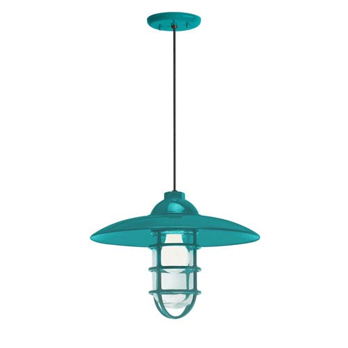 Retro Industrial Tahitian Teal One-Light Outdoor Dome Pendant