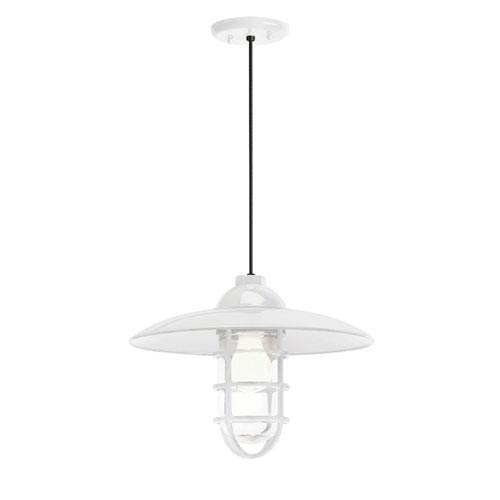Troy RLM Lighting Retro Industrial Gloss White One-Light Outdoor Dome Pendant