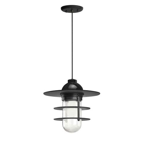 Troy RLM Lighting Retro Industrial Black One-Light Outdoor Flat Pendant