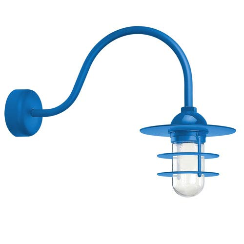 Retro Industrial Blue One-Light Outdoor Flat Wall Sconce with 23-Inch Arm