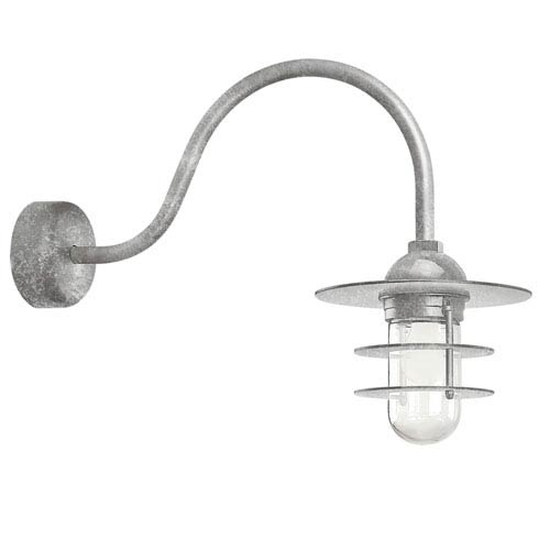 Retro Industrial Galvanized One-Light Outdoor Flat Wall Sconce with 23-Inch Arm
