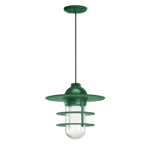 Retro Industrial Hunter Green One-Light Outdoor Flat Pendant
