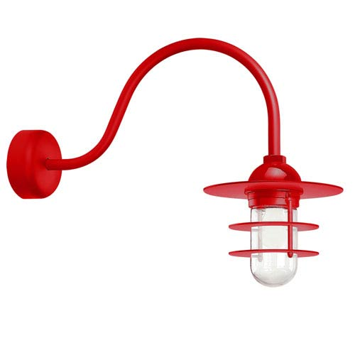 Retro Industrial Red One-Light Outdoor Flat Wall Sconce with 23-Inch Arm
