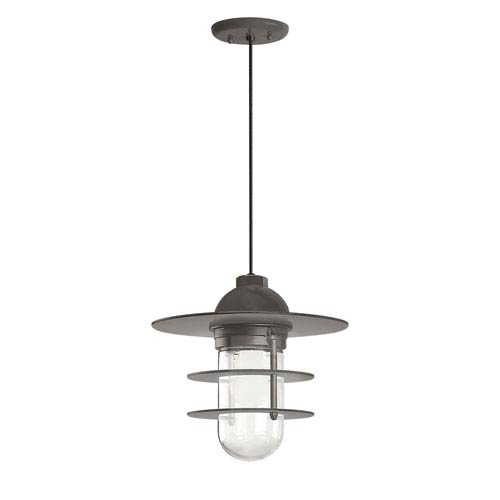 Troy RLM Lighting Retro Industrial Textured Bronze One-Light Outdoor Flat Pendant