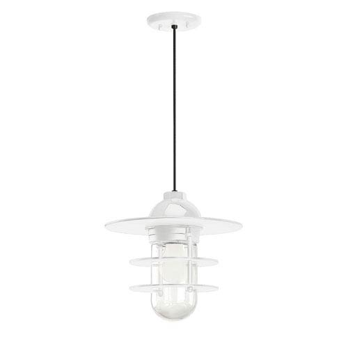 Retro Industrial Gloss White One-Light Outdoor Flat Pendant