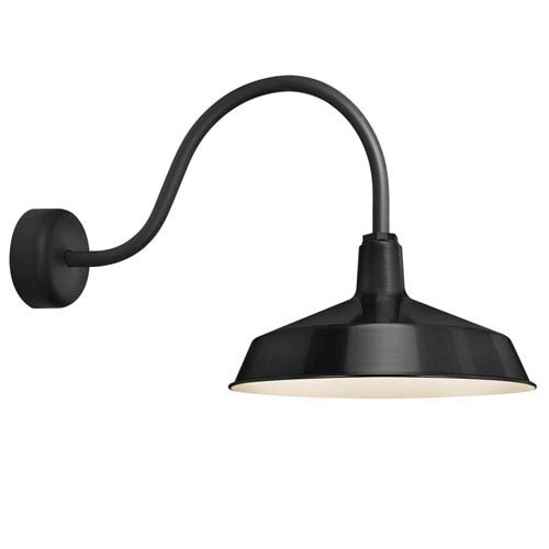 Standard Black One-Light Outdoor Wall Sconce with 23-Inch Arm