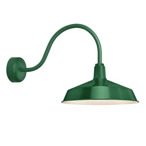 Standard Hunter Green One-Light Outdoor Wall Sconce with 23-Inch Arm