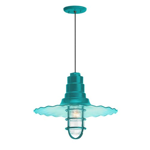 Troy RLM Lighting Radial Wave Tahitian Teal One-Light 16-Inch Outdoor Pendant