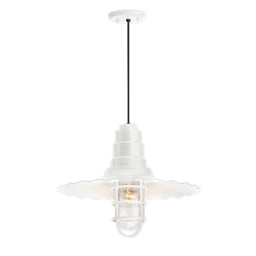 Radial Wave Gloss White One-Light 16-Inch Outdoor Pendant