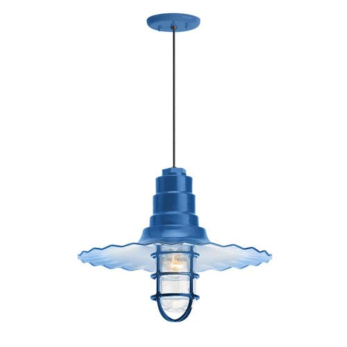 Radial Wave Blue One-Light 18-Inch Outdoor Pendant