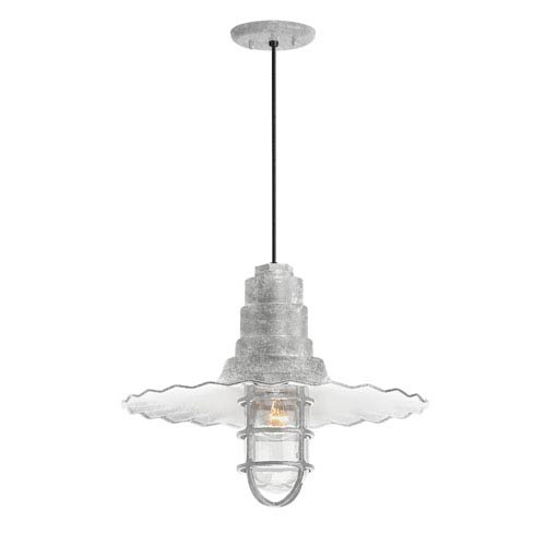 Radial Wave Galvanized One-Light 18-Inch Outdoor Pendant
