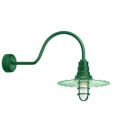 Troy RLM Lighting Radial Wave Hunter Green One-Light 18-Inch Outdoor Wall Sconce with 30-Inch Arm