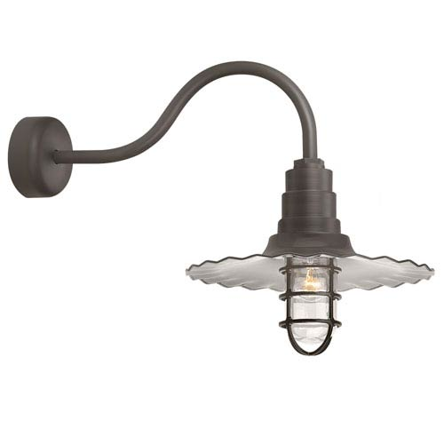 Troy RLM Lighting Radial Wave Textured Bronze One-Light 18-Inch Outdoor Wall Sconce with 23-Inch Arm