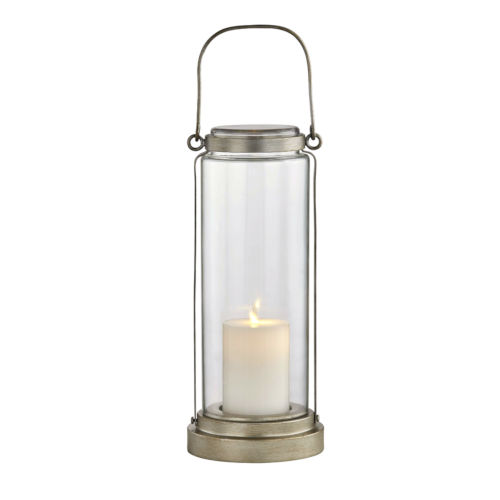 Fillmore Champagne Silver Six-Inch LED Outdoor Table Lantern