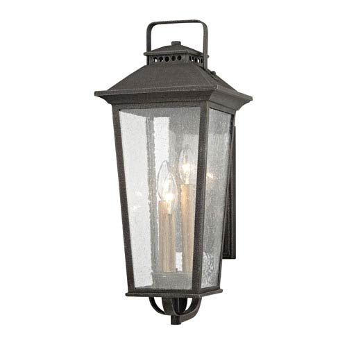 Parsons Field Aged Pewter Nine-Inch Three-Light Outdoor Wall Sconce