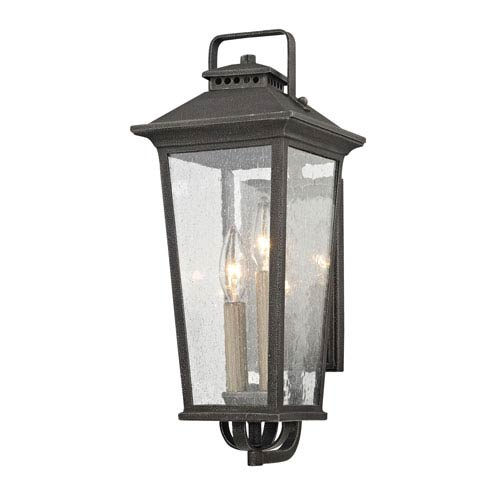 Fifth and Main Parsons Field Aged Pewter 7-Inch Two-Light Outdoor Wall Sconce