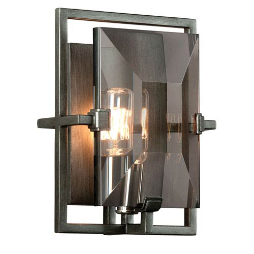Prism Graphite One-Light Rectangular Wall Sconce with Plated Smoked Crystal Glass