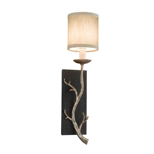 Adirondack Graphite and Silver One-Light Wall Sconce with Hardback Linen Shade