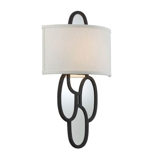 Chime Charred Copper Two-Light Medium Wall Sconce with Hardback Linen Shade