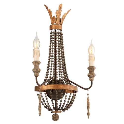 Troy French Bronze with Aged Wood Two Light Incandescent Wall Sconce