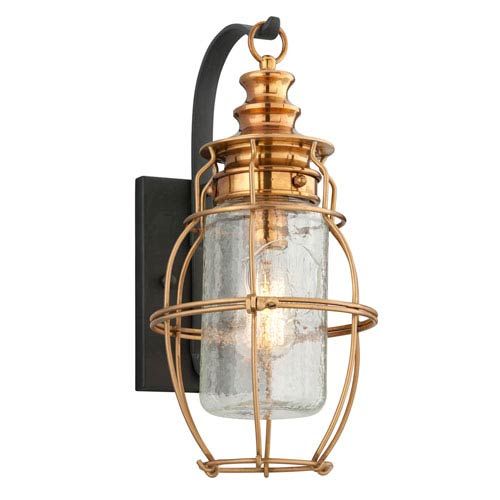 Troy Little Harbor Aged Brass One-Light Medium Wall Sconce with Forged Black Accents and Clear Antique Glass