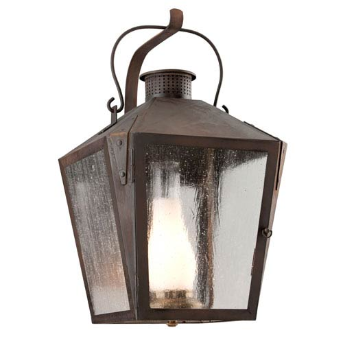 Troy Nantucket Natural Rust One-Light Large Wall Sconce w/ Frosted Chimney and Clear Seeded Glass