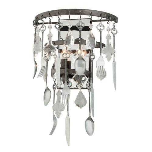 Bistro Graphite Two Light Wall Sconce with Crystal Glass