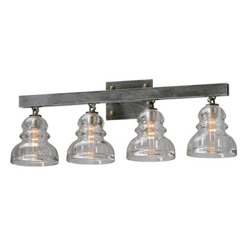 Menlo Park Old Silver Four Light Vanity Fixture
