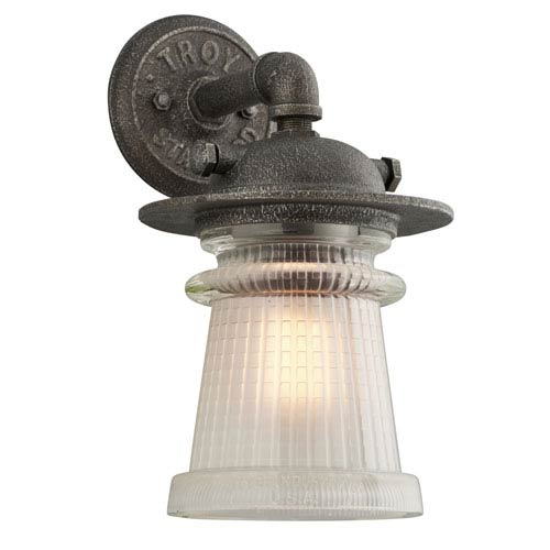 Pearl Street Charred Zinc One-Light Eight-Inch Outdoor Wall Sconce