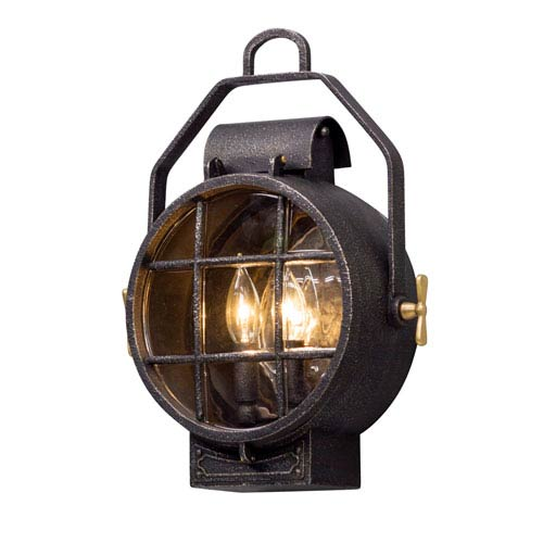 Point Lookout Aged Silver 12.5-Inch Two-Light Outdoor Wall Lantern