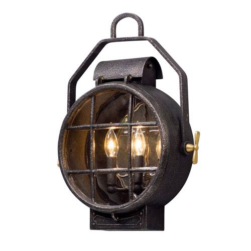 Point Lookout Aged Silver 15-Inch Two-Light Outdoor Wall Lantern