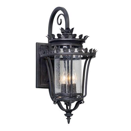 Greystone Forged Iron Three-Light Outdoor Wall Lantern